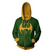 Fans Wear Sweatshirt Iron Fist Printed Hoodies Marvel Premiere Cosplay Zip Up Hoodie Mans Sweatshirts
