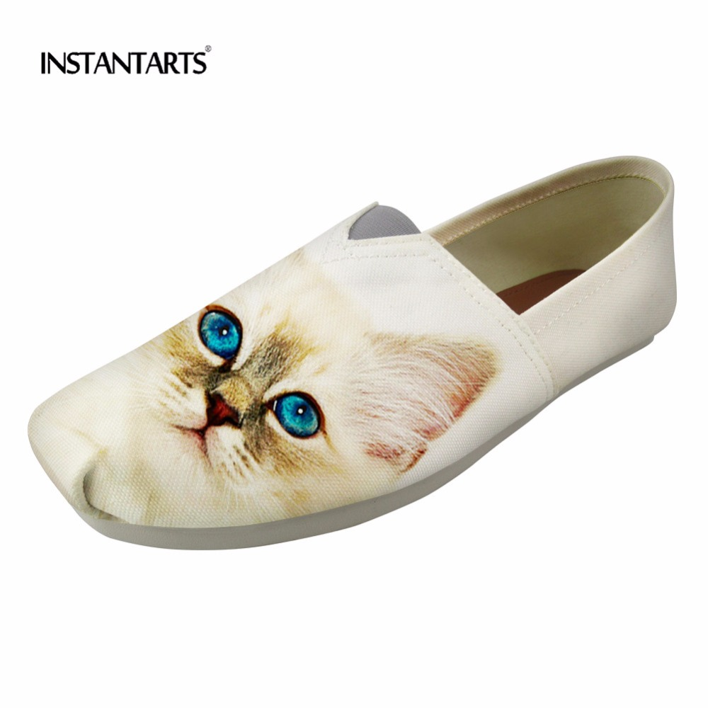 INSTANTARTS White Loafers Casual Shoes Women Flats Summer Cute Cat Pattern Slip On Tenis Feminino Girl Canvas Shoes Lazy Shoes