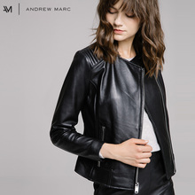 ANDREWMARC 2017 New Autumn Women Genuine Leather Jacket Coat Slim Short Real Female Leather Coat TW7A1734