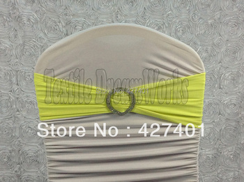 Hot Sale Lemon Yellow Spandex Bands / Lycra Band /Chair Covers Sash With Crystal Round Buckle For Wedding & Banquet