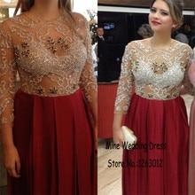Scoop voll perlen 3/4 Ärmeln blatt handmade Eine linie abendkleider rot Biling Kristalle Abendkleid Bodenlangen Abendkleid