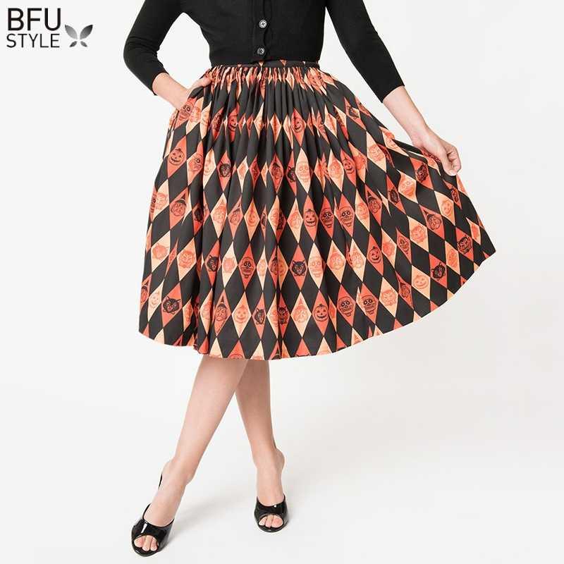 69220c19f0 2019 Autumn Winter Halloween Skirt Women High Waist Pleated Skater Flared  Tutu Women Saias Femininas Vintage
