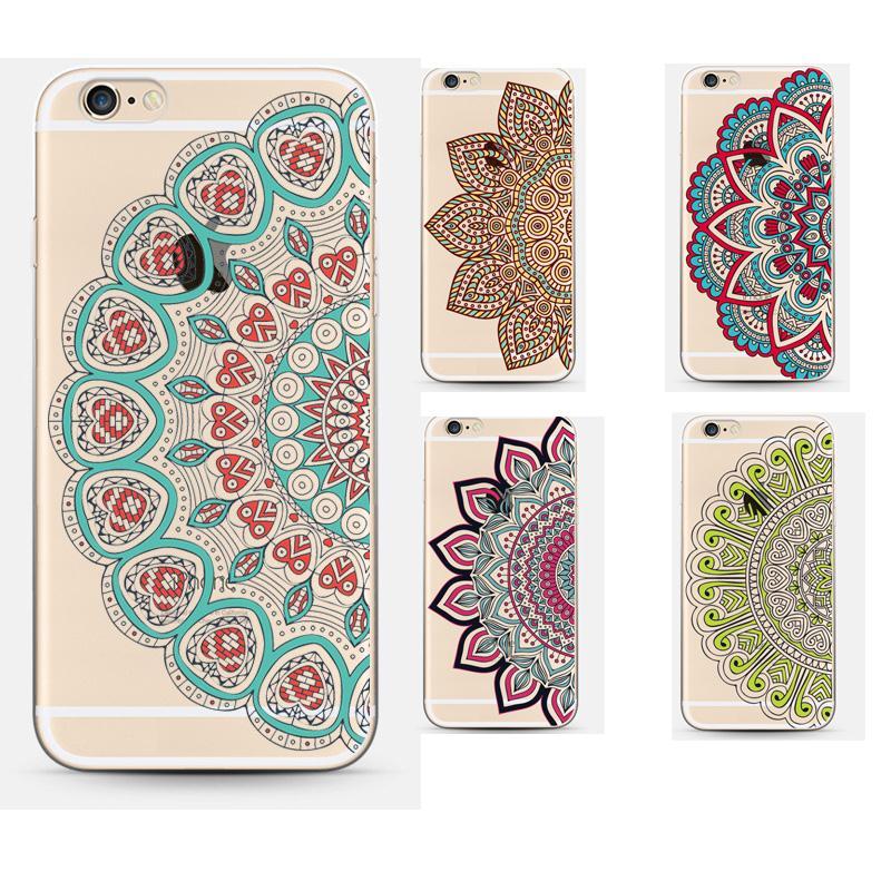 back Cover For Apple Iphone 6 Case 6s Luxury Soft Silicon Capa Coque Vintage Transparent Flower Mandala Capa Fundas Coque