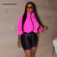 ANJAMANOR Sexy Two Piece Set Hoodie Top Biker Shorts Streetwear Casual Tracksuit Women Sports Suit Plus Size Outfits D37 AF42