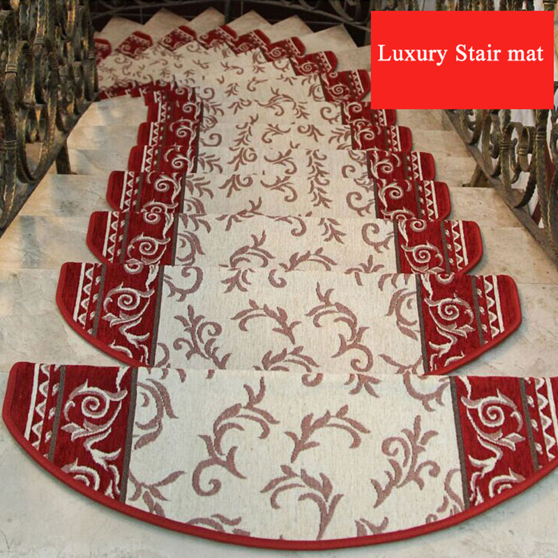 Non-slip Adhesive Carpet Stair Treads Mats Staircase Step Rug Protection Cover No Install Needed Anti-skid Stair Mat Home Decor