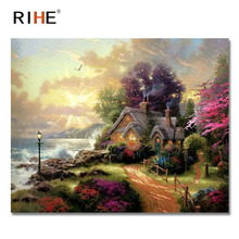RIHE Fairyland Diy Painting By Numbers Abstract Seaside Oil Painting On Canvas Cuadros Decoracion Acrylic Wall Picture For Room rihe seaside house diy painting by numbers abstract lighthouse oil painting on canvas cuadros decoracion acrylic wall picture