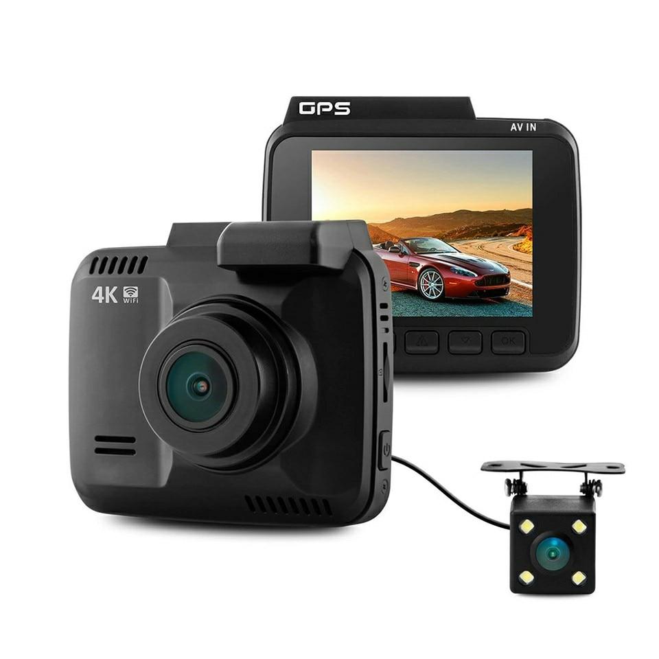 Double Lentille GS63D WiFi FHD 1080 p Avant Dash Cam Novatek 96660 Caméra Construit en GPS + VGA Arrière De Voiture DVR Enregistreur 2880x2160 p