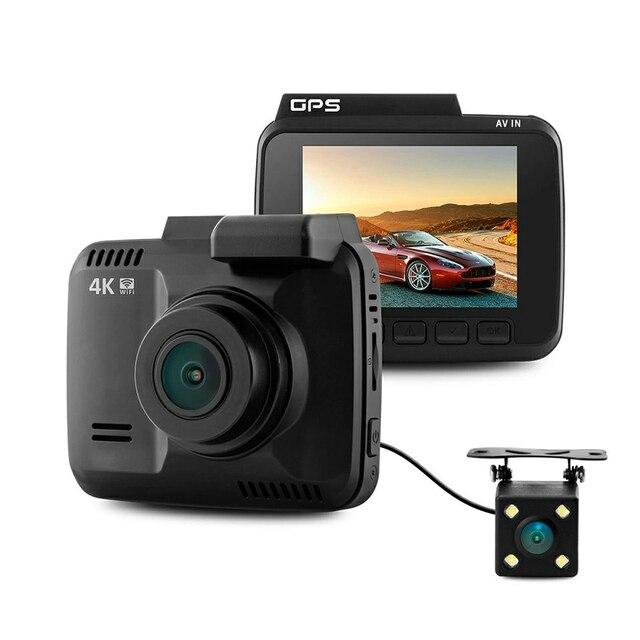 Podwójny obiektyw GS63D WiFi FHD 1080P przednia kamera na deskę rozdzielczą Novatek 96660 kamera wbudowana GPS + VGA tylny samochodowy rejestrator dvr 2880x2160 P