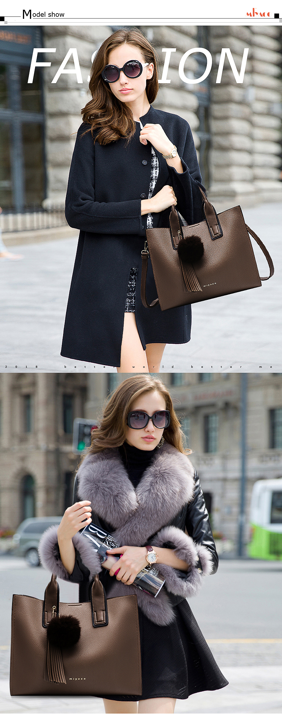 Miyaco Women Leather Handbags Casual Brown Tote bags Crossbody Bag TOP-handle bag With Tassel and fluffy ball 14