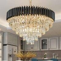 Luxo moderno led lustre de cristal sala estar iluminação lustre para interior pendurado cristais pretos lustres