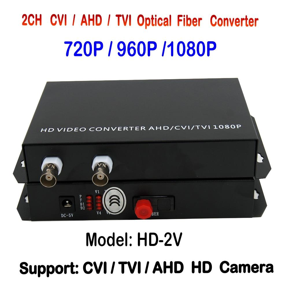1080p 2channels HD AHD TVI CVI Video Fiber Optical Transmitter And Receiver , Support 1080P /960P/ 720P HD Analog Camera