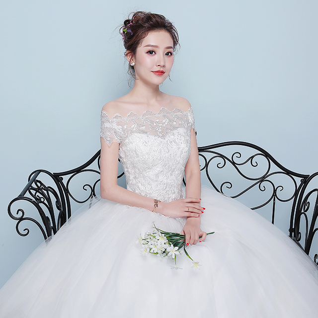 New Wedding Dress Lace Boat Neck Ball Gown Off The Shoulder Princess Plus Size Wedding Dresses 4