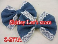 Wholesale --100 X FASHION  (10X12.5cm ) Denim and Lace Edge Butterfly Bow, DIY HAIR BOW (S-277A)--- Free Shipping by EMS