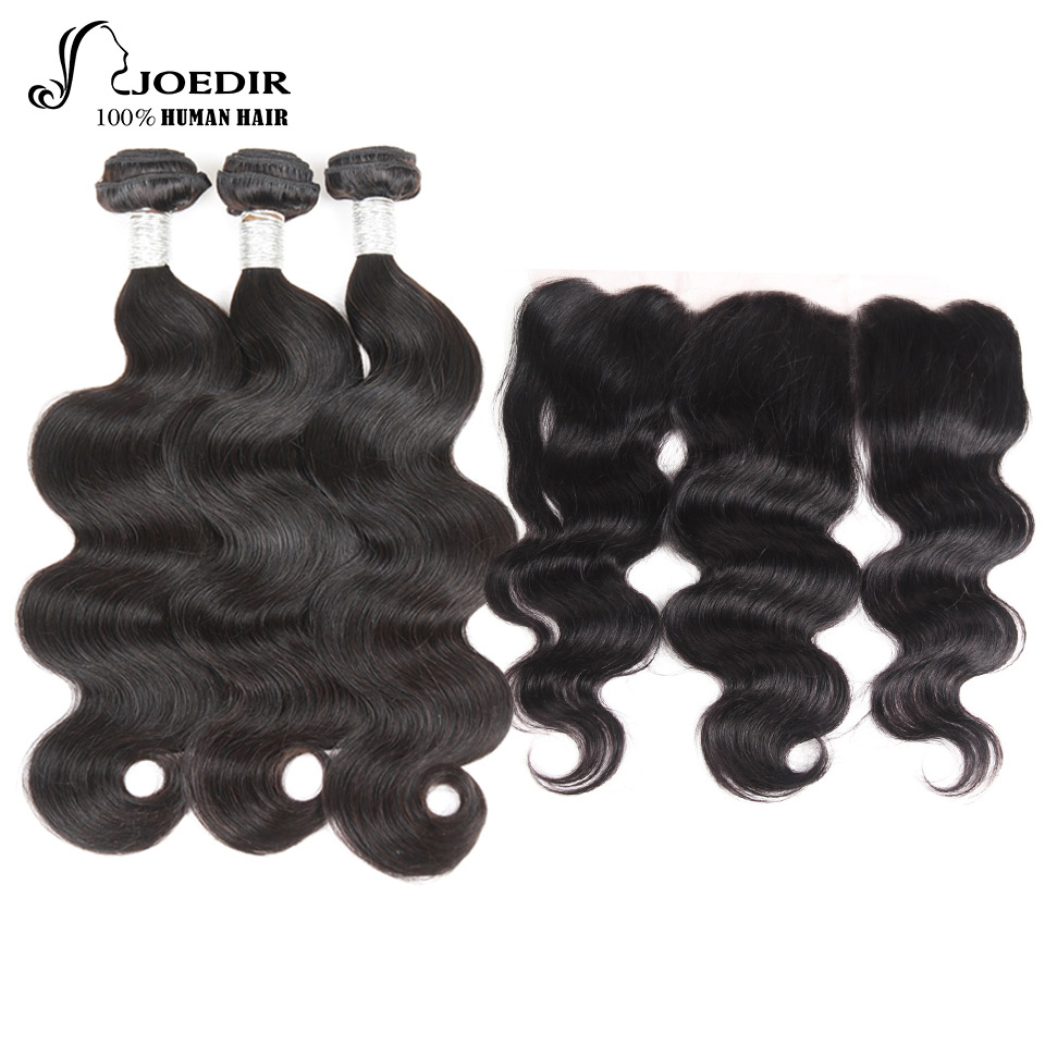joedir Natural Color indian Human Hair 4*4 Swiss Lace Closure With 3 Bundles Deal Body Wave Hair with Bundles With Closure