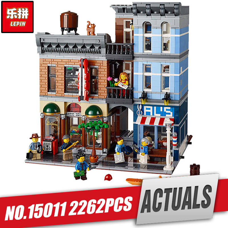 DHL LEPIN 15011 City Street Detective's Office Model Building Kit Blocks Bricks Compatible legoing Toy 10246 for children gift lepin 02012 city deepwater exploration vessel 60095 building blocks policeman toys children compatible with lego gift kid sets