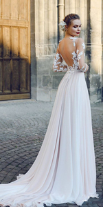 Image 4 - Scoop Tulle Neckline Long Sleeves Lace Applique A line Wedding Dress with Backless Sweep Train Illusion Robe de mariée