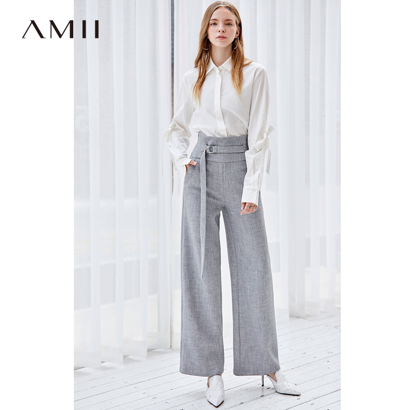 Amii Minimalist Wide Leg Pants Women Autumn 2019 Office Solid High Waist Zipper Belt  Female Long Pants