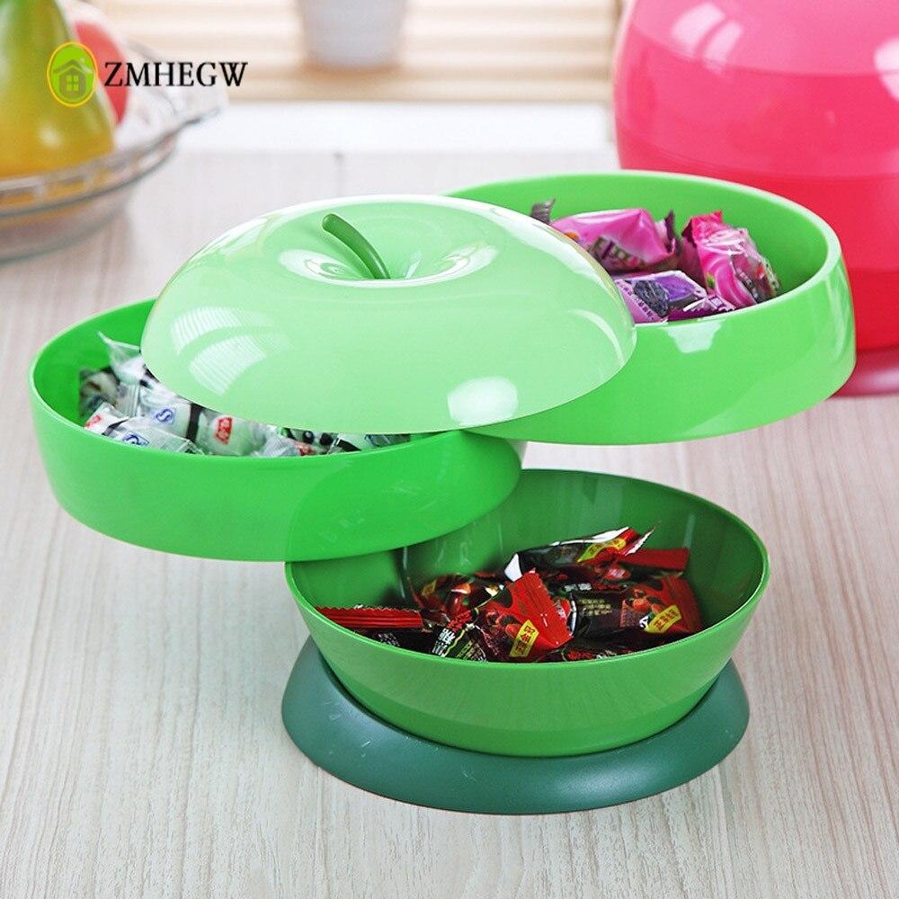 Новинка 2017 года Творческий Еда коробка для хранения дома Пластик Apple в форме трех слоев вращающийся семена дыни конфеты коробка Мода конфет... ...
