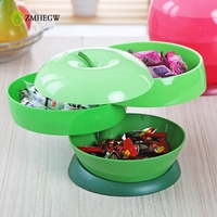 2017 New Creative Food Storage Box Home Plastic Apple Shaped Three Layers Rotatable Melon Seeds Candy