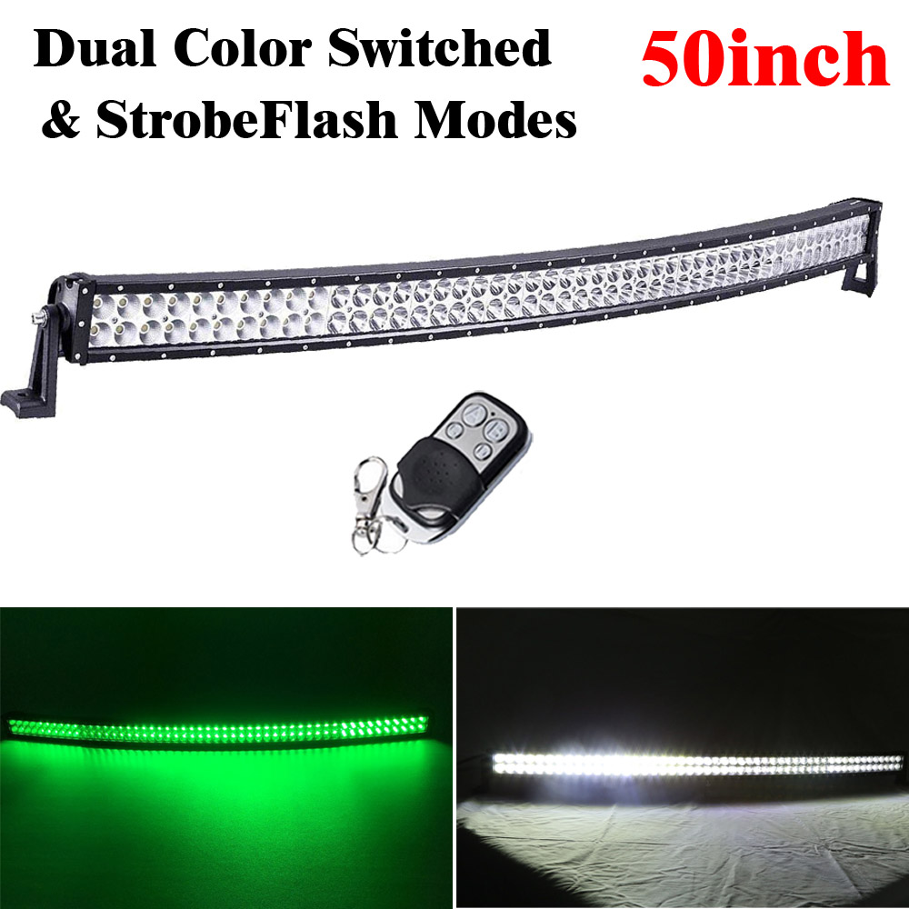 50inch 288W Led Curved Light Bar Combo Beam White /Green Dual Color Switched Stroboflash for OFFROAD JEEP TRUCK Hog Hunting
