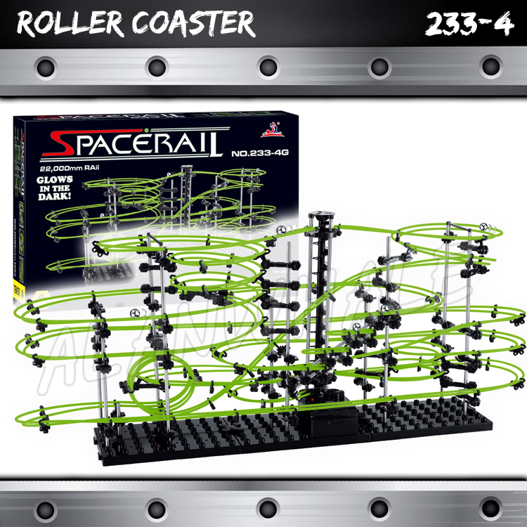 2200cm Rail Level 4 Marble Run Night Luminous Glow In The Dark Roller Coaster Model Building Gifts Maze Rolling ball Sculpture
