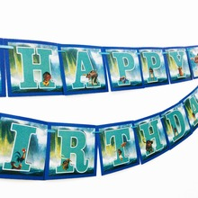 1pc/set Moana PartyPennant Bunting Birthday Party Flag Banners KidsCartoon Supplies Decoration Moanaflag