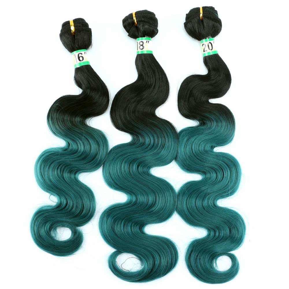 FSR Body Wave Black To Green Color Ombre hair bundles Synthetic hair Weave 16-20 Inch Available 3 bundles/Lot 210g hair Product