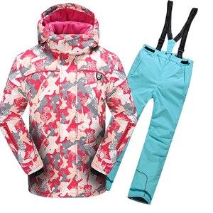 Image 4 - 2020 Winter Skipak Voor Meisjes Fleece Hooded Kids Sneeuw Sets Jas Overalls Winddicht Outdoor Sport Kinderkleding Sets