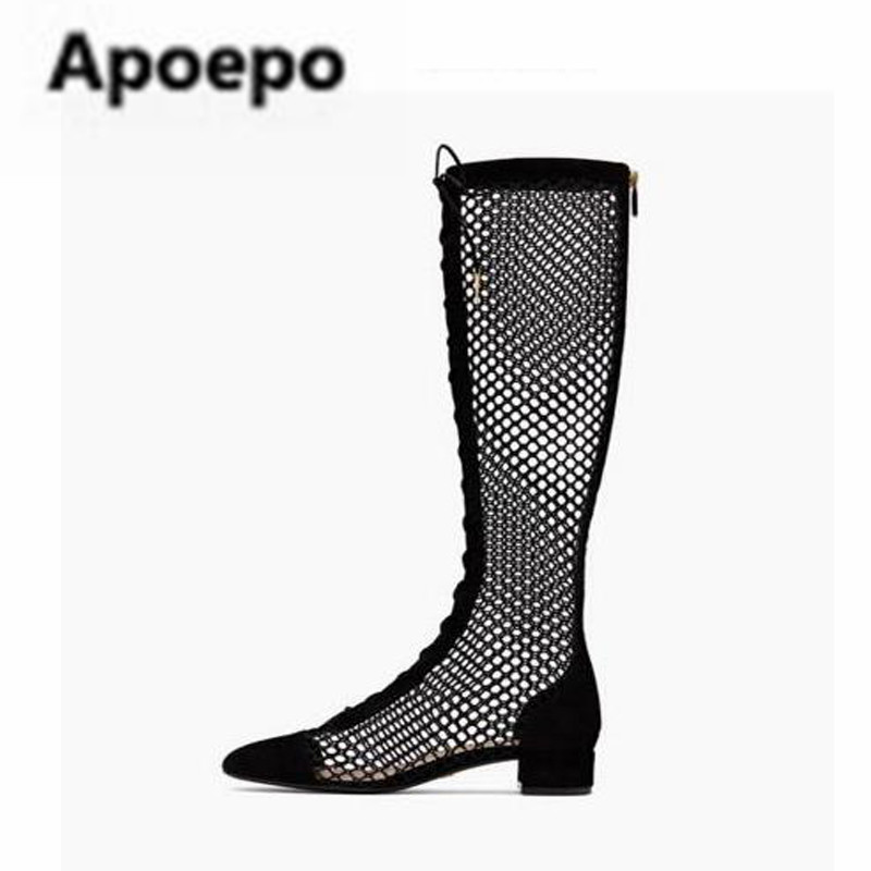 Apoepo summer sexy over the knee boots black cut-outs lace up ladies shoes 2018 gladiator sandals women med heels boots women apoepo women high heels sandals sliver gold black ladies shoes summer rivet cut outs females shoes buckle strap bridal shoes