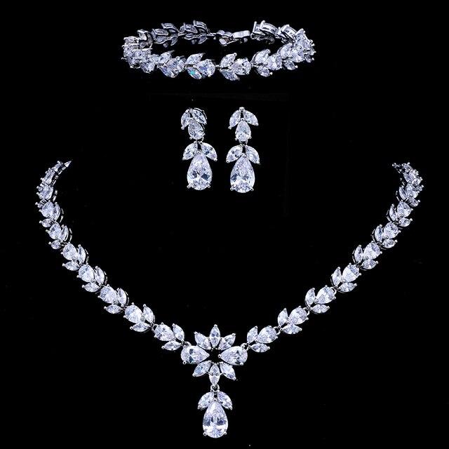 Emmaya Luxury Zircon Bridal Wedding Jewelry Sets Zirconia Necklace/ Earrings/ Bracelet Full Set For Women Party
