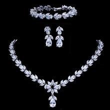 Emmaya ensemble de bijoux de mariée en Zircon, ensemble complet de bijoux de mariée, collier, boucles doreilles et Bracelet pour femmes