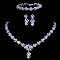 Emmaya Luxury Zircon Bridal Wedding Jewelry Sets Zirconia Necklace/ Earrings/ Bracelet Full Set For Women Party