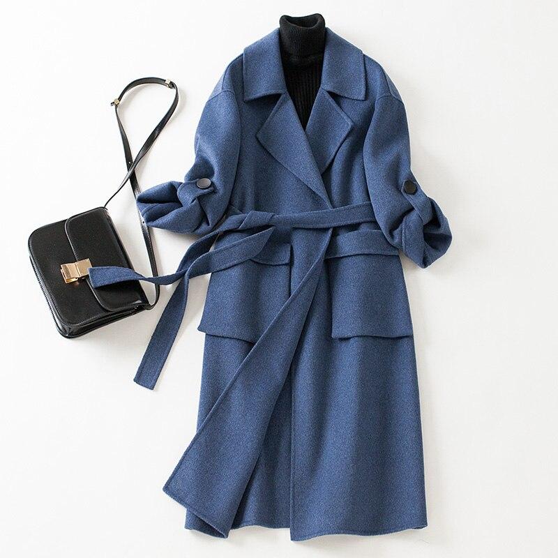 Pur Manteau D'hiver Solide Femmes Couleur Veste Cachemire Long Laine Pardessus Trench Blue De Élégant 2018 nYTTq1Hw