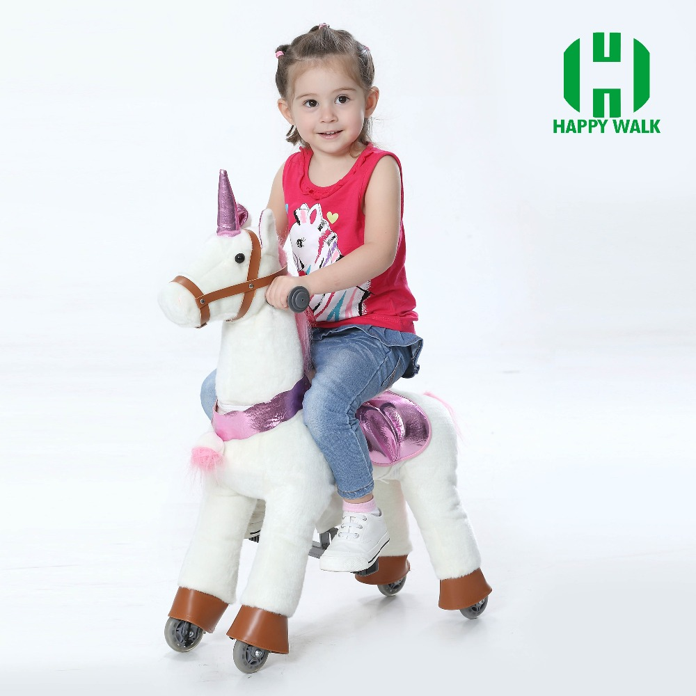 ขี่สวนสนุกบนของเล่นม้าสำหรับ 3 7Y เด็กสาวเด็กน่ารักเลื่อน Mechanical Horse ขี่สัตว์สกู๊ตเตอร์คริสต์มาสของขวัญร้อน!-ใน ภาพยนตร์และทีวี จาก ของเล่นและงานอดิเรก บน   3