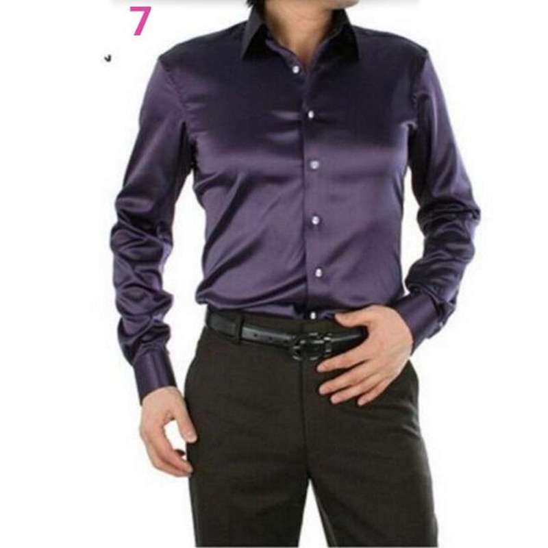 Men Dress Shirt Custom Casual Suits Silk Satin Long sleeve Casual shirts fashion style Groom Shirts high quality