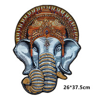 2Pcs Lot Large Elephant Embroidered Patch Pure Handmade Bead Print Fabric Sequin Applique Need Sew On
