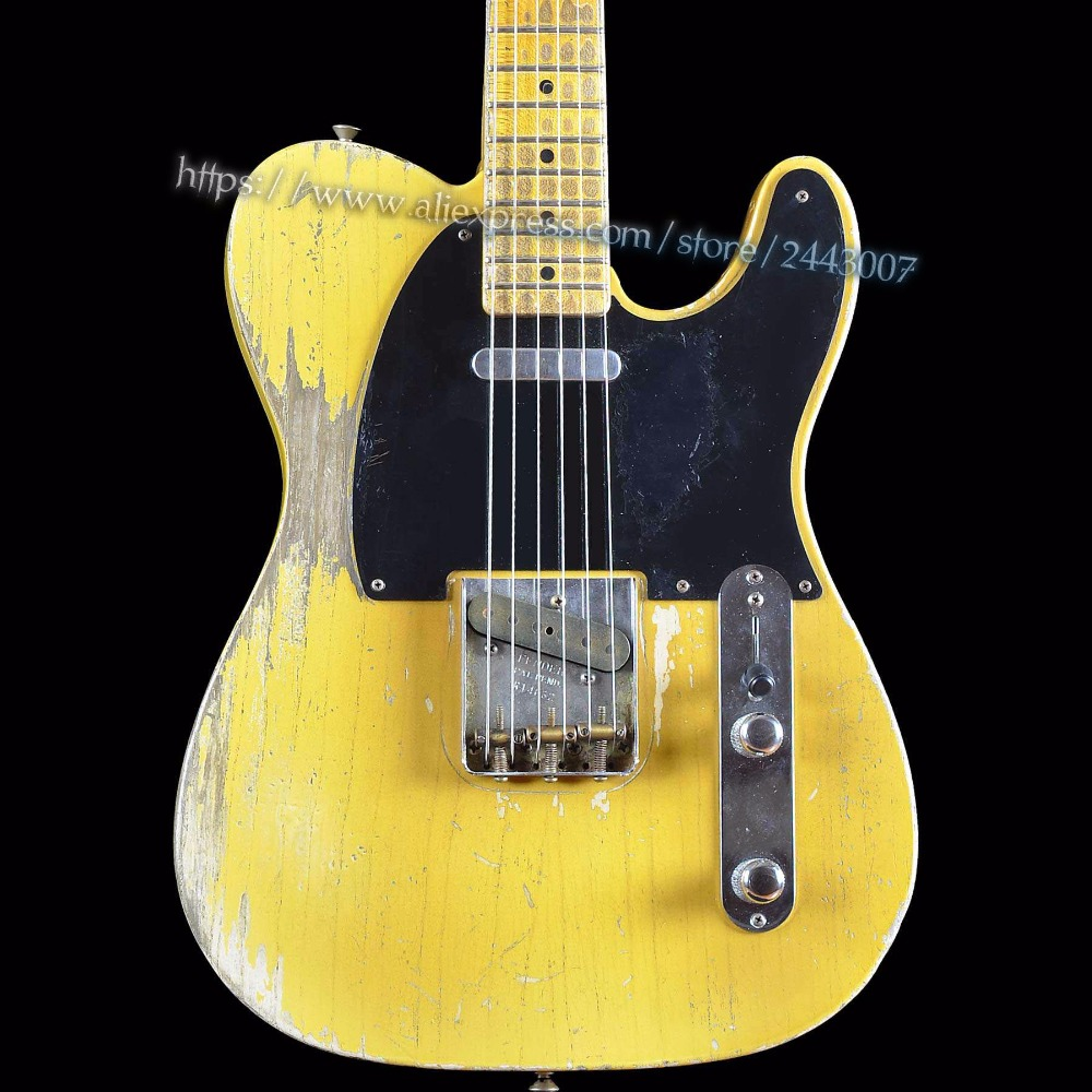GC Custom Shop Masterbuilt Dale 1951 Heavy Relic Pale Nocaster Blonde Electric Guitar firehawk custom shop relic billy gibbons pearly gates mahogany body standard electric guitar