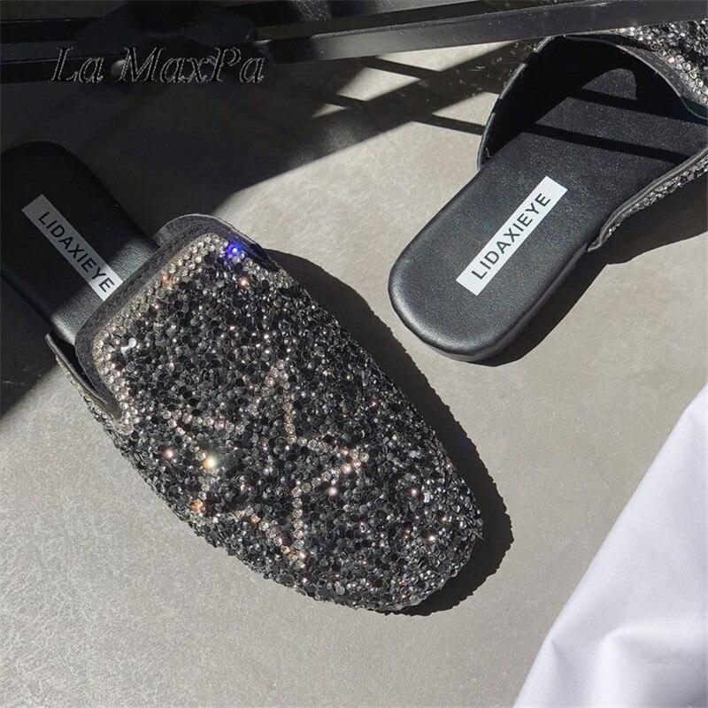 La MaxPa Women Slippers Slip On Slides Brand Crystal Star Sandal Diamond Slipper Beach Flip Flops Lady Flat Casual Female Mules