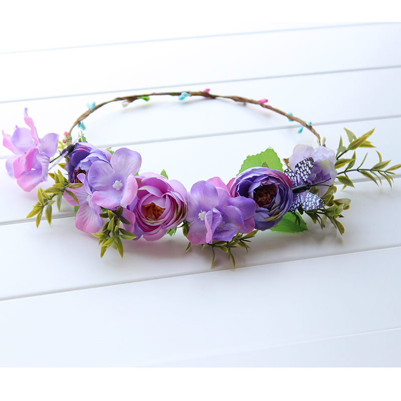 Purple Floral Meadow Crown Diadema Novia boda corona de flores dama - Accesorios para la ropa - foto 2