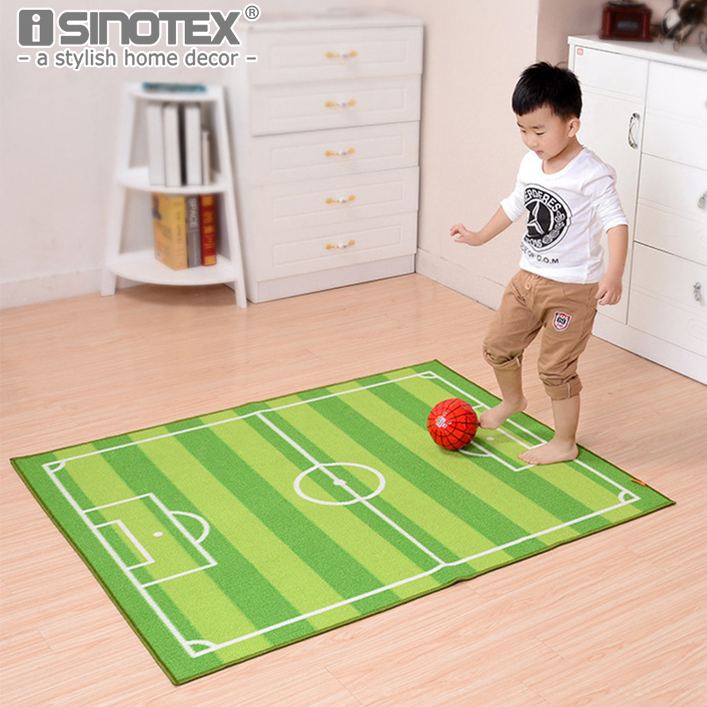 1pcs kids cartoon carpet soccer filed floor mat jogging for Mats for kids room