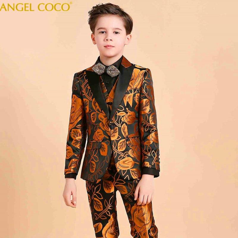 Королевский аристократия костюм для мальчиков для свадьбы выпускного вечера вечерние Детский костюм комплекты для мальчиков смокинг дело
