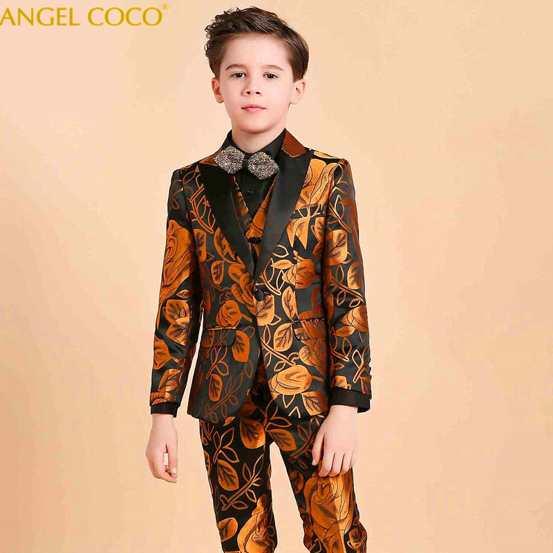 Royal Aristocracy Boy Suit for Weddings Prom Party Children Suit Sets Boys Tuxedo Formal Vest Pants Classic Costume Garcon