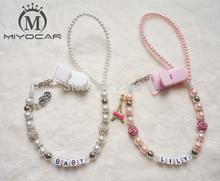 MIYOCAR Personalised -Any name Bling silver rhinestone pacifier clips/soother chain holder Dummy clip/Teethers clip for baby
