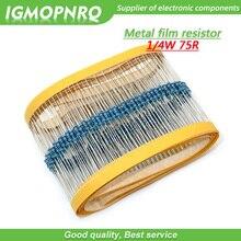 100pcs Metal film resistor Five color ring Weaving 1/4W 0.25W 1% 75R 75 ohm 75ohm