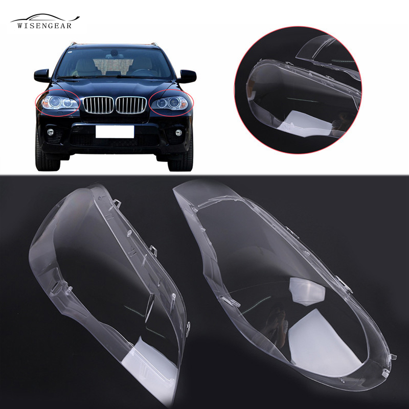 WISENGEAR E70 X5 Transparent Headlight Headlamp Lens Car Light Cover Shell Housing For BMW E70 X5 2008 2009 2010 2011 2012 2013 car rear trunk security shield shade cargo cover for kia sportag 2007 2008 2009 2010 2011 2012 2013 black beige