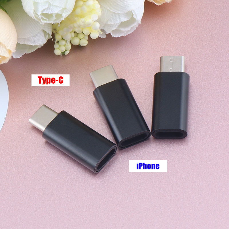 3pcs Type-C To 8Pin Charging Adapter For IPhone Android Data Cable Converter For IPhone Type-C USB 3.0 To Micro USB Adapter