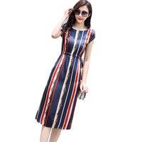 Высокое качество шелковое платье для женщин Лето 2019 г. короткий рукав элегантные модные тонкие полосы офисное платье женский Vestidos NW1598