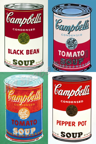 Andy Warhol Campbell\'s Soup Cans Poster Print on Canvas 36\