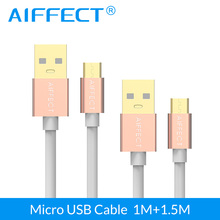 AIFFECT High Quality Micro USB Cable Aluminum Micro-USB Cable Micro B to USB Cable Cord Data Charging X 2 Pieces 3.3Ft and 5FT стоимость