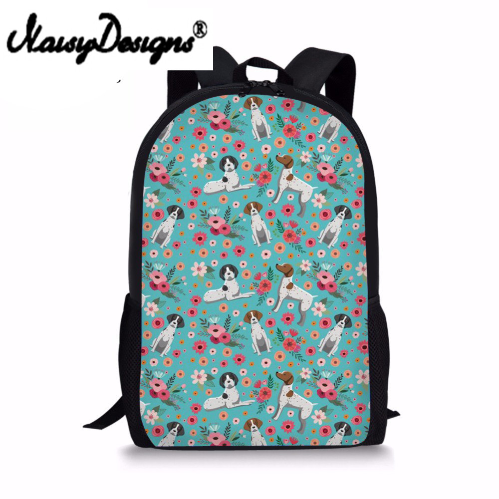 School Bag For Teenager Boy Girl Kawaii Dachshund Dog Floral Print Primary Children Bookbag Bagpack 2018 Student Bag